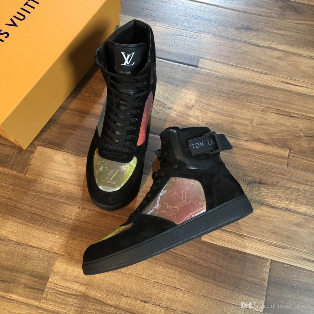 Zapatos de diseño de lujo Zapatillas de deporte para hombre High Top Ace Zapatillas de deporte Moda Zapatillas de cuero reales para hombres Diseñador Casual con caja de zapatos A002
