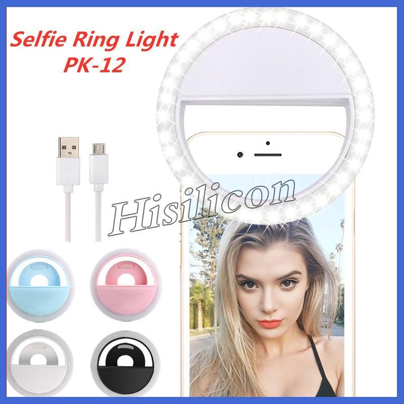 Fasion Selfie LED 링 라이트 RK-12 가벼운 플래시 램프 카메라 사진 USB 충전 아이폰 삼성 Huawei + 소매 상자
