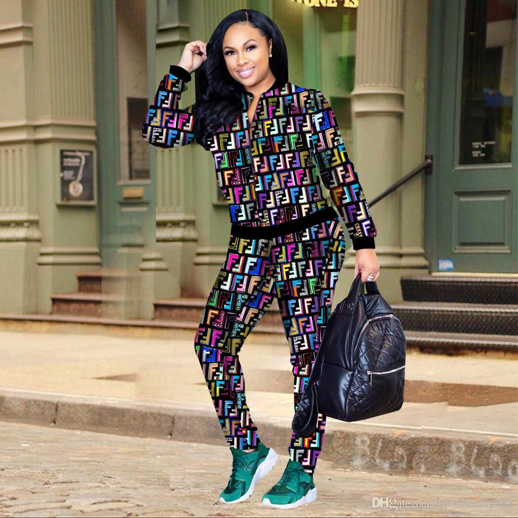 2019 новый костюм женский с длинными рукавами спортивный принт комплект 2 шт костюм