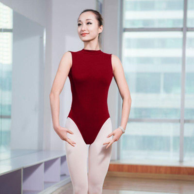 Traje de la danza del ballet de adultos Leotardo sin mangas para las mujeres Negro rojo de cuello alto gimnasia Práctica Leotardo Backless atractivo del ballet