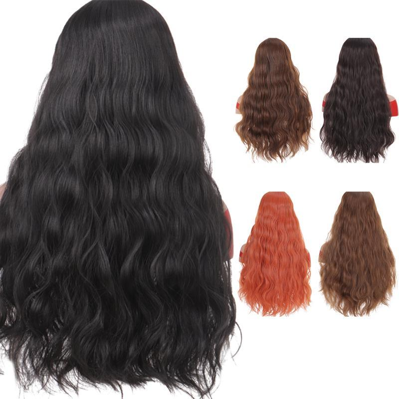 MUMUPI Orange Color brown black Long Water Wave curly Hairstyle Wigs for Women girl cosplay fake hair