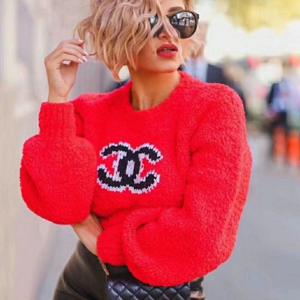 Pembe, parlak kırmızı, rahat ve şık kazak yün kazak hoodie, bayanlar kazak için düz siyah-beyaz tasarımı