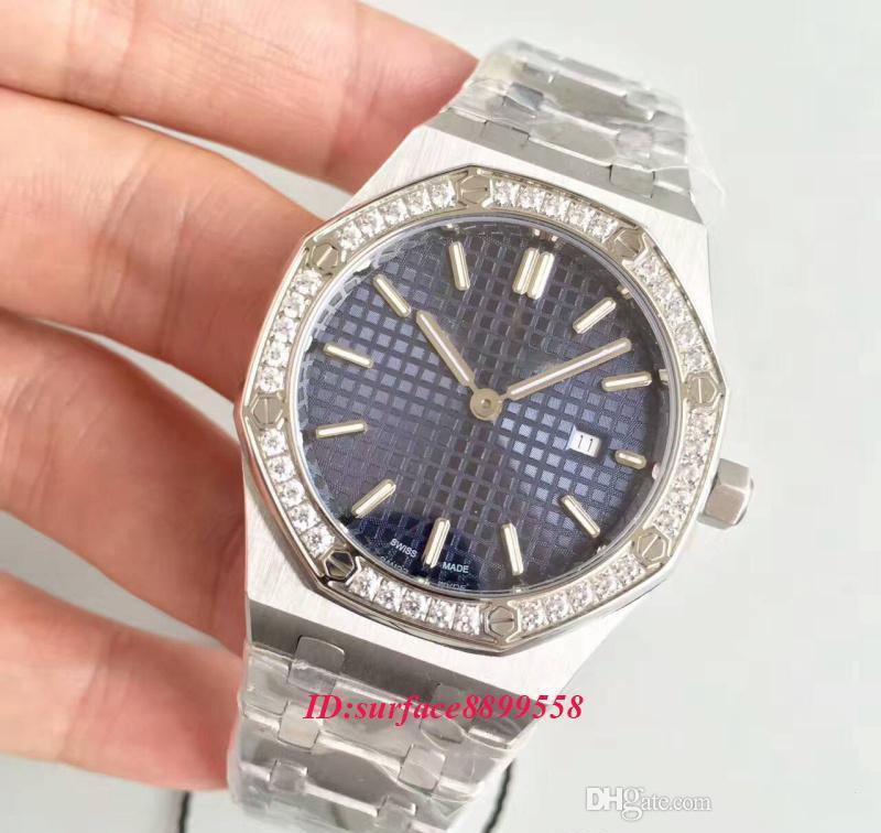 venda quente Diamonds Assista Ladys 33MM Quartz Movimento Azul Anel rosto de aço inoxidável Sapphire 15400 mulheres relógios frete grátis