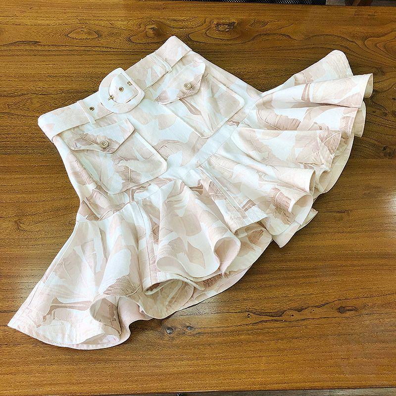 Linen Printed Skirt High Quality Belt High Waist Slim Belt Pleated Ruffled Skirt Mini 2020 New