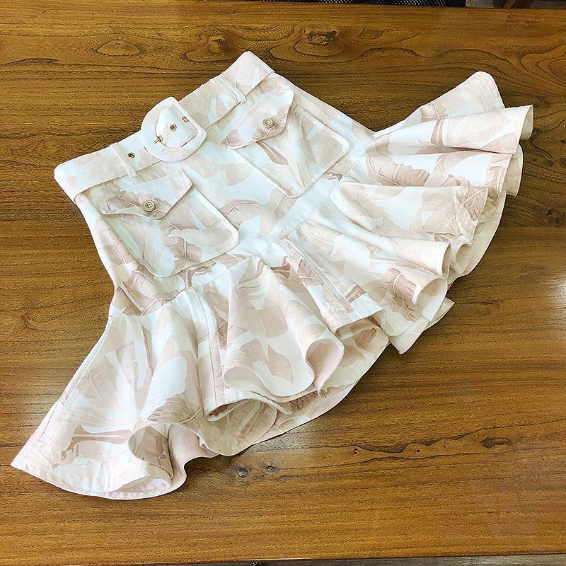 Impreso ropa de la falda de la correa de alta calidad alta de la cintura de la correa delgada plisada falda rizada Mini 2020 Nuevo