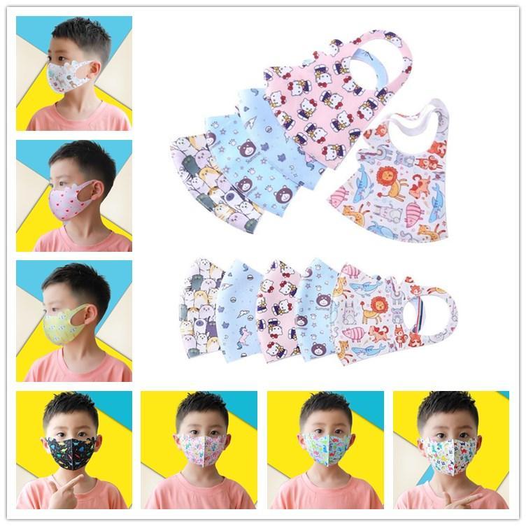 3D 어린이 만화 페이스 마스크 먼지 여름 통기성 아이스 실크 코튼 어린이 얼굴 마스크 세척 재사용 학생 입 마스크 얼굴 방패