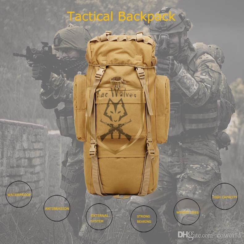 Laptop ao ar livre Hunting Mochila Tática Mille Mille Bag Camping Backpack Oxford Nylon Military Waterproof Saco Esportes 60L Ilkll