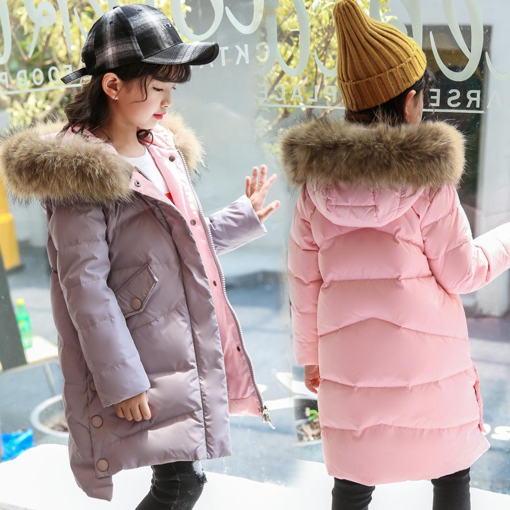 Chaqueta Rusia invierno gruesa hacia abajo para niñas de 3-14 años de cabritos Ropa de abrigo chaquetas de la capa