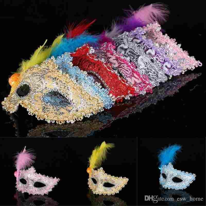 Sexy Venetian Lace feather máscara de ojo princesa hermosa actuaciones de Halloween máscaras de disfraces máscara de fiesta máscara de club nocturno
