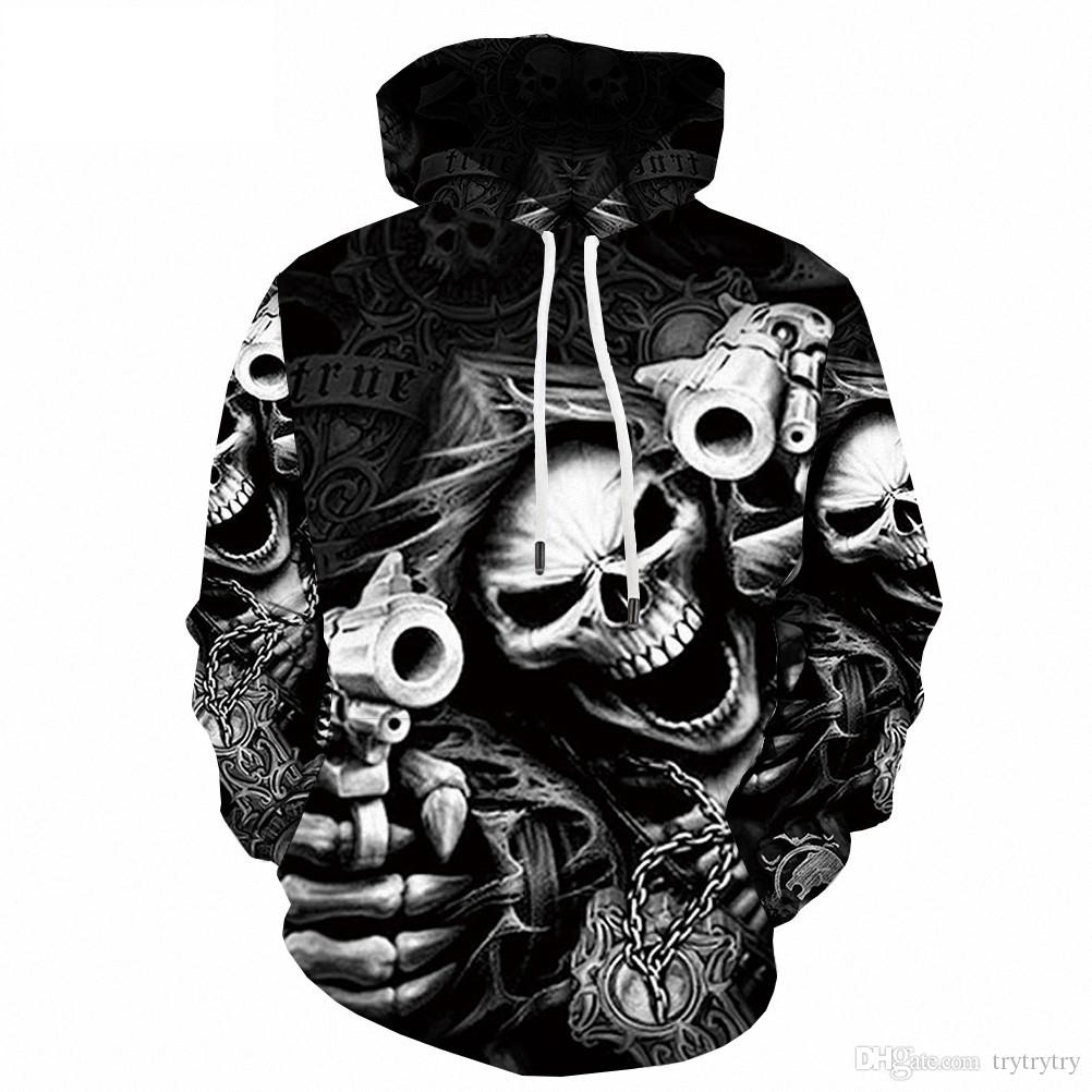 UNINUKOO Unko Mens 3D Print Pullover Casual Drawstring Sweatshirt Hooded Hoodies