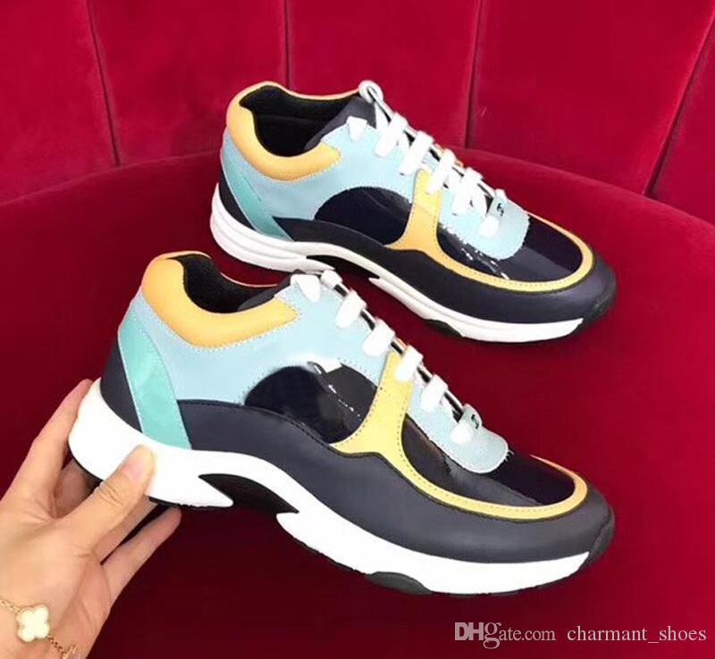 Yeni Tasarım Kadınlar kutusu Boyutu 36-45 ile Erkekler Kadınlar Zapatos De Hombre İçin Ayakkabı Açık Ayakkabı Yürüyüş renkli deri Boş Ayakkabı mix