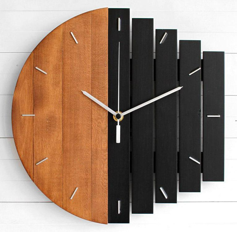 Abstract industrial brief and creative wall clock for living room wall hanging decor wooden clock Antique wood