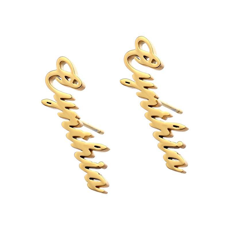 1 paire personnalisée Nom personnalisé Boucles d'oreilles pour les femmes Personnaliser initial Cursive Nameplate Stud cadeau pour le meilleur ami des filles