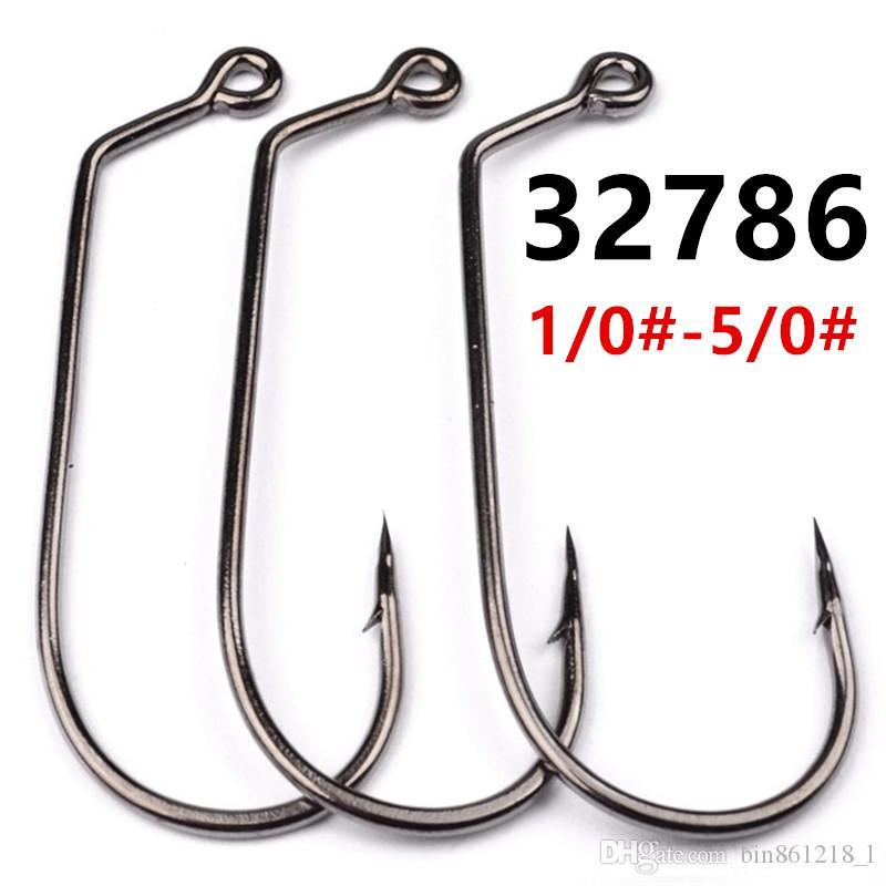 100pcs 32786 1/0 # -5 / 0 # Jig Hook alta acciaio al carbonio con il foro spinato pesca Ganci ami a-021