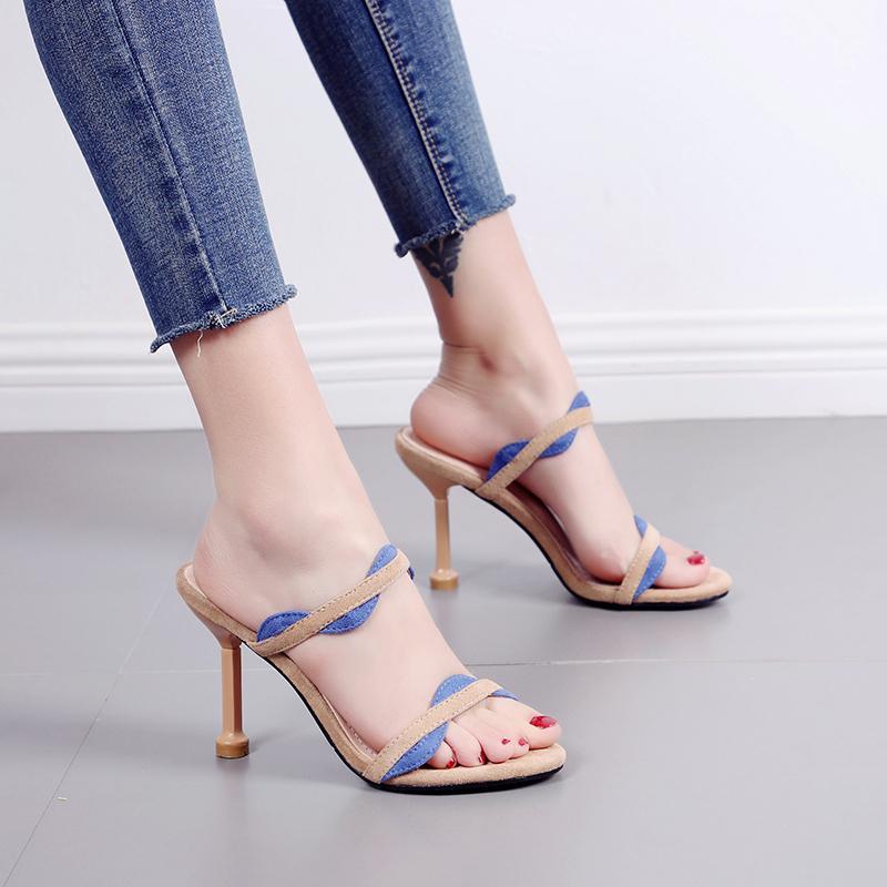 Sexy2019 Fine fata con scarpe col tacco alto Sandali da donna Una parola porta altri vestiti mezzo pantofola