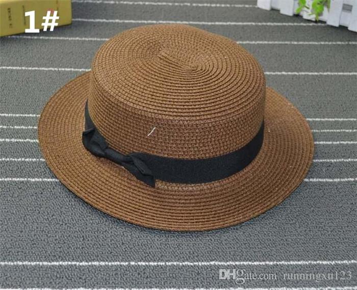 e51b550d4df91 Man Women Straw Hat Summer Beach Hats Children And Adult Size Flat Top  Straw Hat Men ...