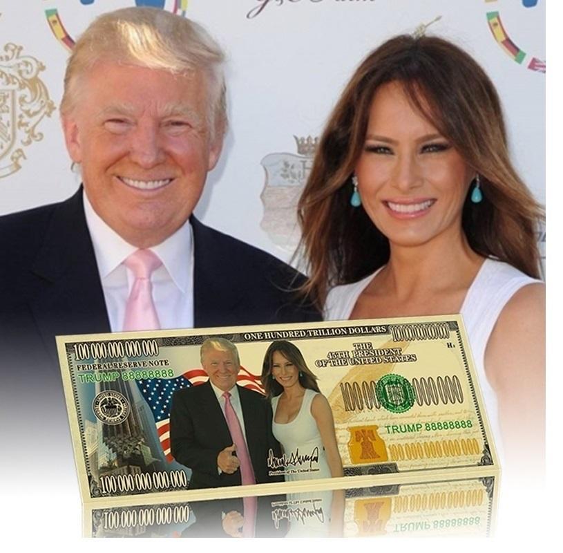 7 tipos Presidente Donald Trump Melania Dólar de billetes de oro Bills de plata Moneda conmemorativa Crafts América Elección General el dinero falso