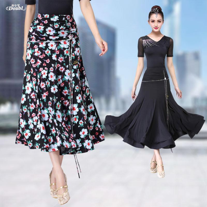 Doubl National Standard Nova Saia Longa Senhora Feminina Saia Moderna das Mulheres Túnica Vestido Tango Partido Moda Dancewear