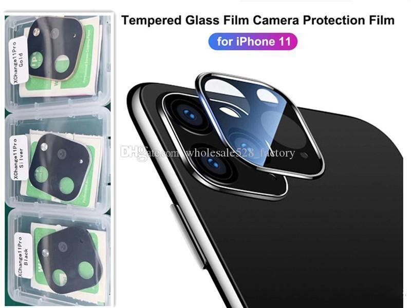 소매 팩 iPhone11 11Pro 최대 카메라 렌즈 화면 보호기 티타늄 전체 커버 블랙 골드 실버를위한 렌즈 카메라 필름 강화 유리