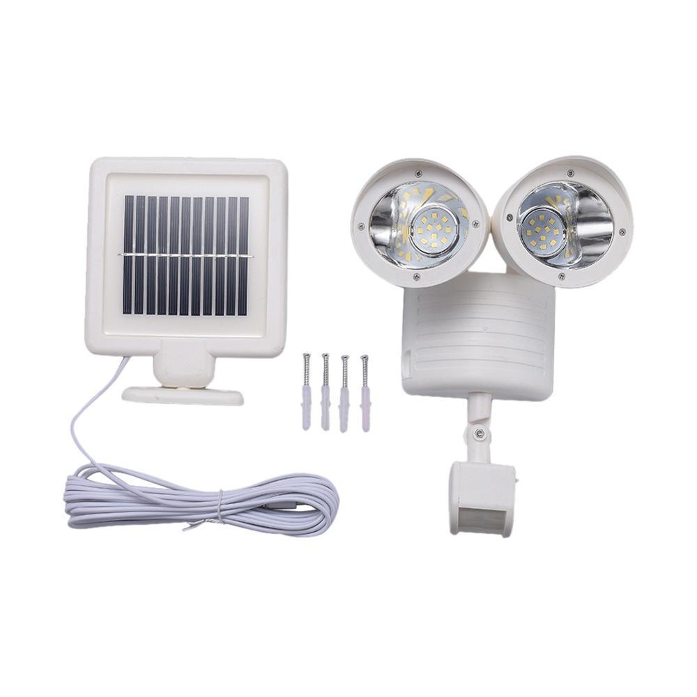 Segurança Solar Luz Dual Head Solar Sensor de Movimento 22 LED Lâmpada ao ar livre Bright Light White Garden ajustável