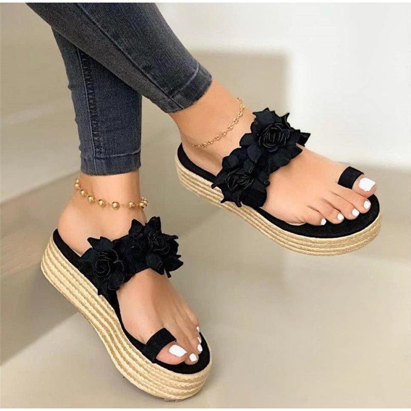 MCCKLE Women Summer Sandals Ladies Open Toe Slip On Flower Platform Thong Shoes Woman Fashion Comfort Casual Female Sandalias CY200518