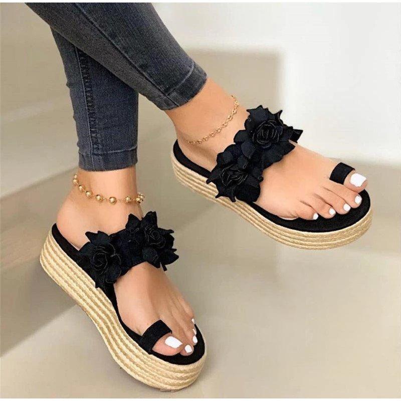 MCCKLE Women Summer Sandals Ladies Open Toe Slip On Flower Platform Thong Shoes Woman Fashion Comfort Casual Female Sandalias CY200518