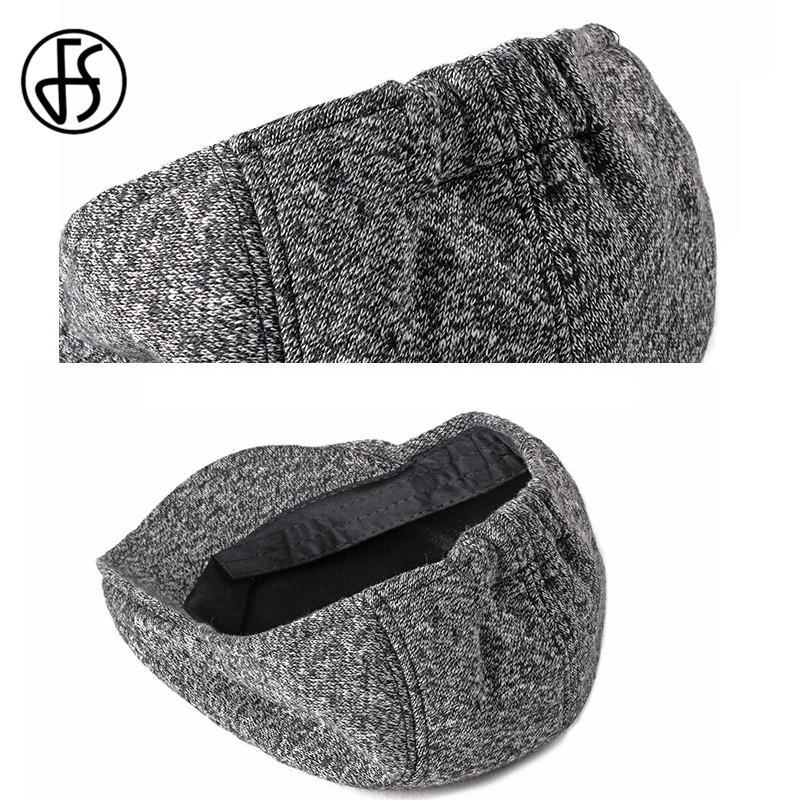 FS lã Vintage malha Beret Cap For Men Outono Inverno Estilo britânico clássico lã Avançada Plano Ivy Cap Black Coffee Grey