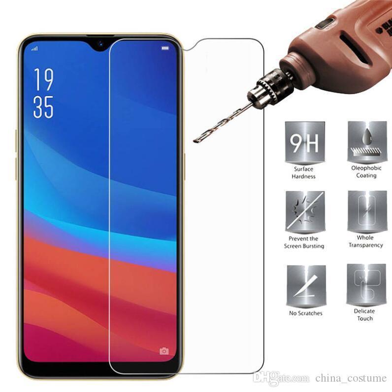 500pcs téléphone portable en verre trempé pour OPPO A1K AX5 AX7 R9S R11S R15 R17 R19 R9 R11 plus Screen Protector DHL gratuit