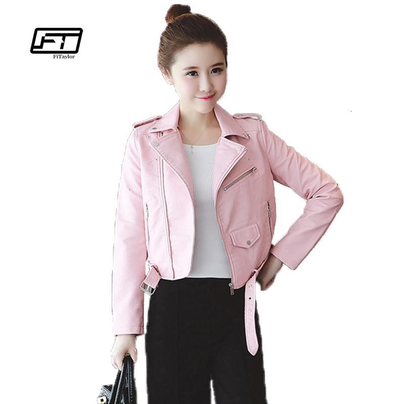 Fitaylor Printemps Automne Femmes Vestes en cuir souple Pu Faux cuir manteaux Slim court design collier Turn Down Motorcycle JacketMX190924