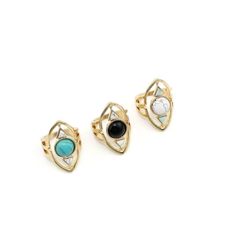Mode Blanc Bleu Turquoise Bague pour femmes Bijoux en or Triangle Geometry pierre naturelle ovale Kallaite Howlite Anneau Noir