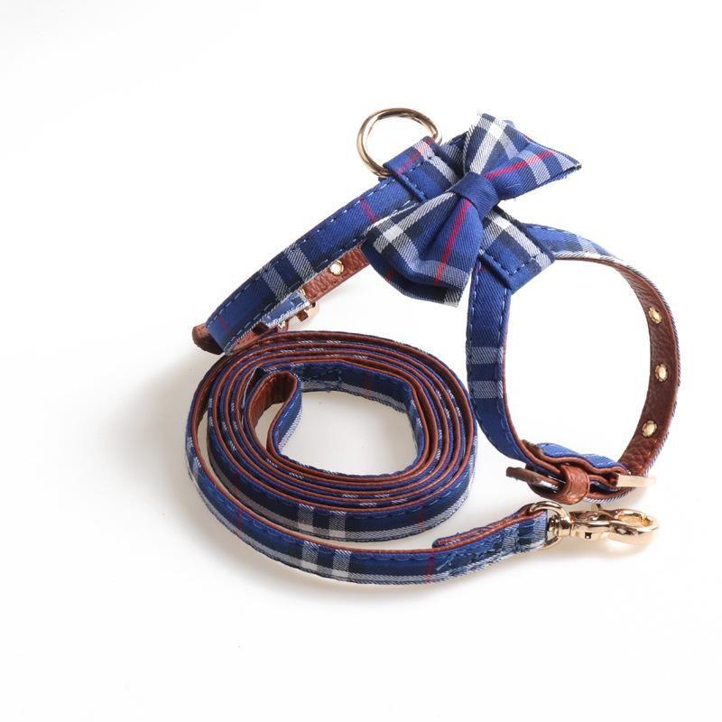 Accessoires pour chiens de compagnie de concepteur Harnais en forme de K Collier d'arc et laisse Set Style britannique Multi-Couleur Taille Taille Réglable Fashion Dog Fournitures