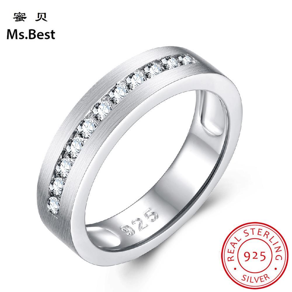 Bijoux en argent sterling massif 925 Bague de mariage Bague à diamant de mariée bijoux Sablage au jet de polissage Demi-bague d'éternité pour la mariée J190704