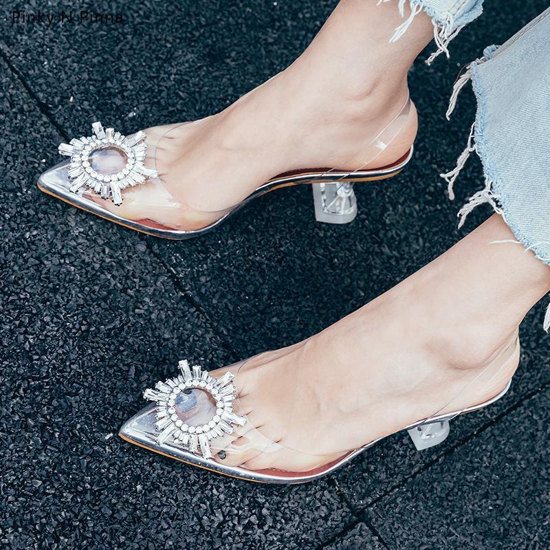 Kadın Ayakkabıları ile Ebullient2019 Yüksek topuklu Kadın Sezon Hanımefendi Yapay elmas Gerçek Deri Şeffaf Keskin İngiltere Şarap Cam