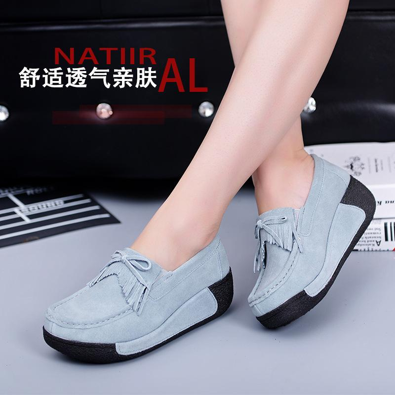 Fairy2019 Sole Thick Autumn Tassels Sponge Cake Women's Shoes Slope With Flat Bottom Genuine Leather Shaky Doug Shoe Woman Will 43