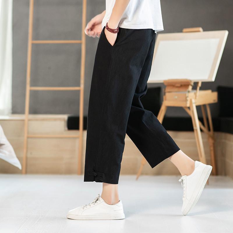 حجم الرجال حريم M-8XL زائد سروال الياباني عارضة سروال القطن الكتان بنطلون الرجل عداء ببطء فضفاض الصينية سوداء اللون الرمادي الأبيض