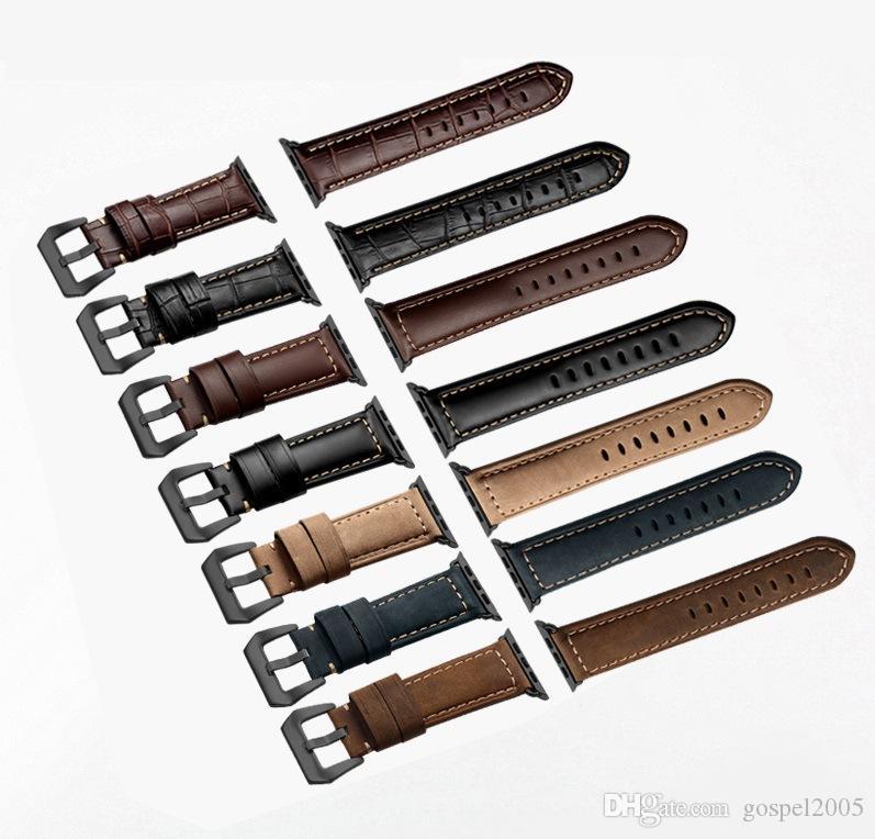 pulseras correa de reloj de cuero genuino de la vaca de Aple venda de reloj de serie 42 mm 38 mm 44 mm 4 4-1 iWatch reloj de pulsera 40mm