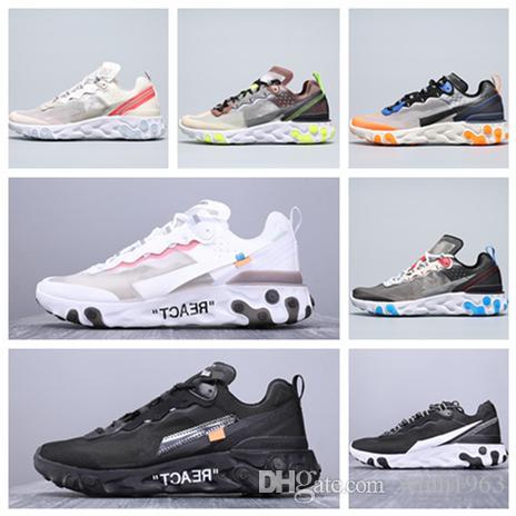 New reagir elemento 87 55 esportes tênis para mulheres dos homens triplos pretos brancos reais solares formadores vermelhas luxo designer sneaker sapatos de corrida