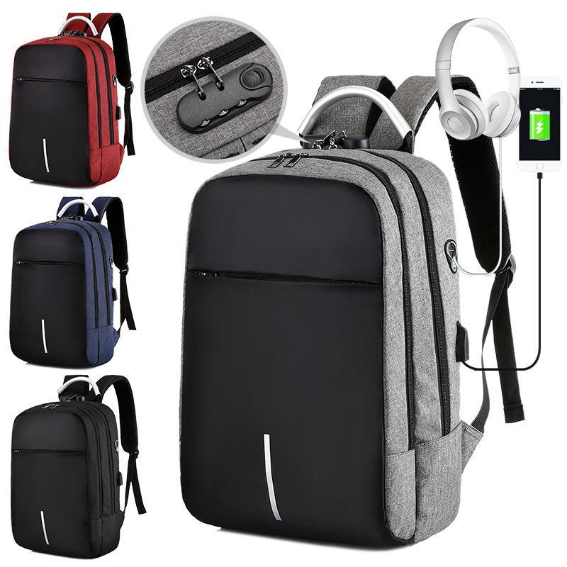 2020 Новый Прибытие Приграничное зарядный Anti-Theft Компьютерная сумка рюкзак Password Lock Multi-Function Рюкзак Travel Мужские сумки