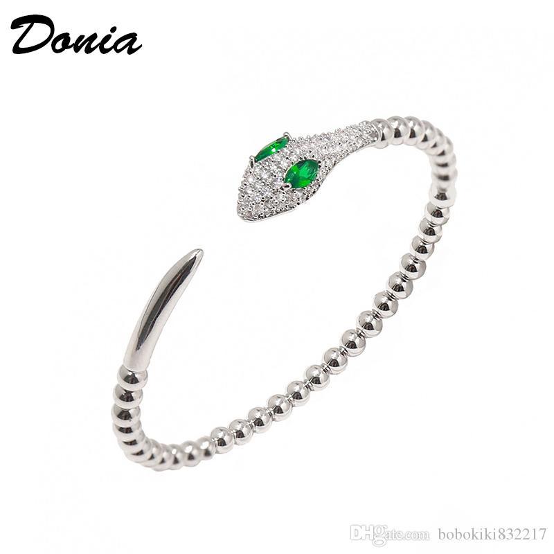 Dona Gioielli Braccialetto di lusso Braccialetto europeo e americano a forma di serpente a forma di micro-intarsiato Zircone Designer aperta Braccialetto Braccialetto