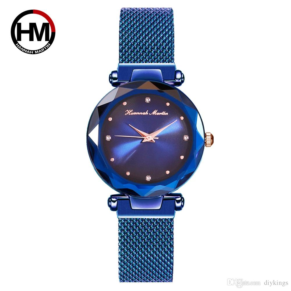 Ladies Luxury Quartz Watches MIYOTA2035 Core Dazzle Light Magnet Buckle Stainless Steel Milan Braided Magnetic Mesh Belt