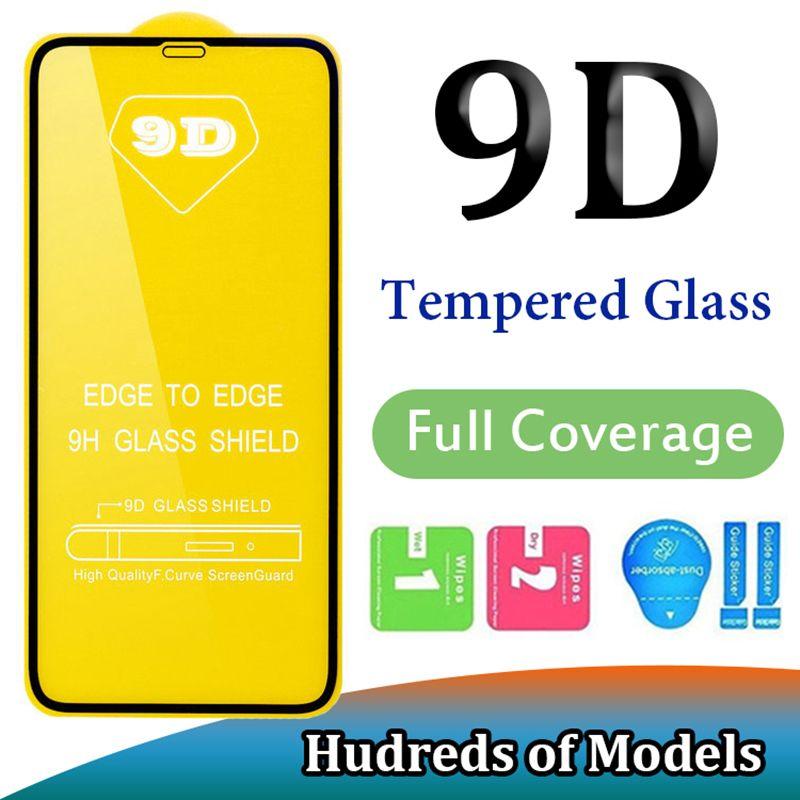 9D غطاء كامل الزجاج المقسى آيفون 11 برو ماكس XS XR X 6 7 8 زائد SE 2020 سامسونج A01 A51 A71 A91 A10E هواوي P40 ايت P الذكية Redmi 8A