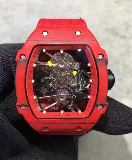 Top brand Factory Supplier Quality Red carbon fiber mens Luxury Mechanical Skeleton watches mineral tempered glass Men Business Wristwatches