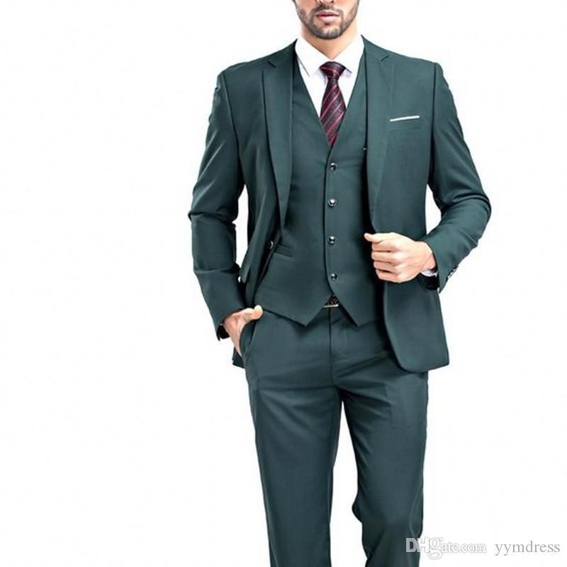 2019 Koyu Yeşil Erkekler Suits Çentikli Yaka tasarımcı blazerler erkek (Ceket + Pantolon + yelek + kravat) için takım elbise düğün takım elbise balo mens