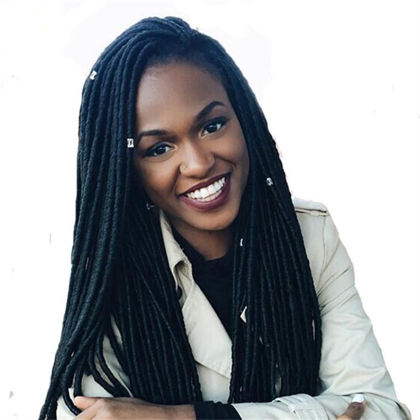 Chaud! 1 Pcs 18 Pouce Déesse Locs Crochet Faux Locs Cheveux Synthétique Kanekalon Tressage Extensions de Cheveux Crochet Tresses Dreadlocks pour Femmes Noires