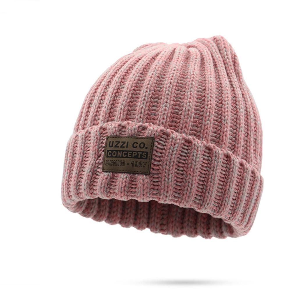 Mode Lettre bannière chapeau chaud hiver femme couleur solide rayures Skullie Bonneterie Chapeaux Bonnet