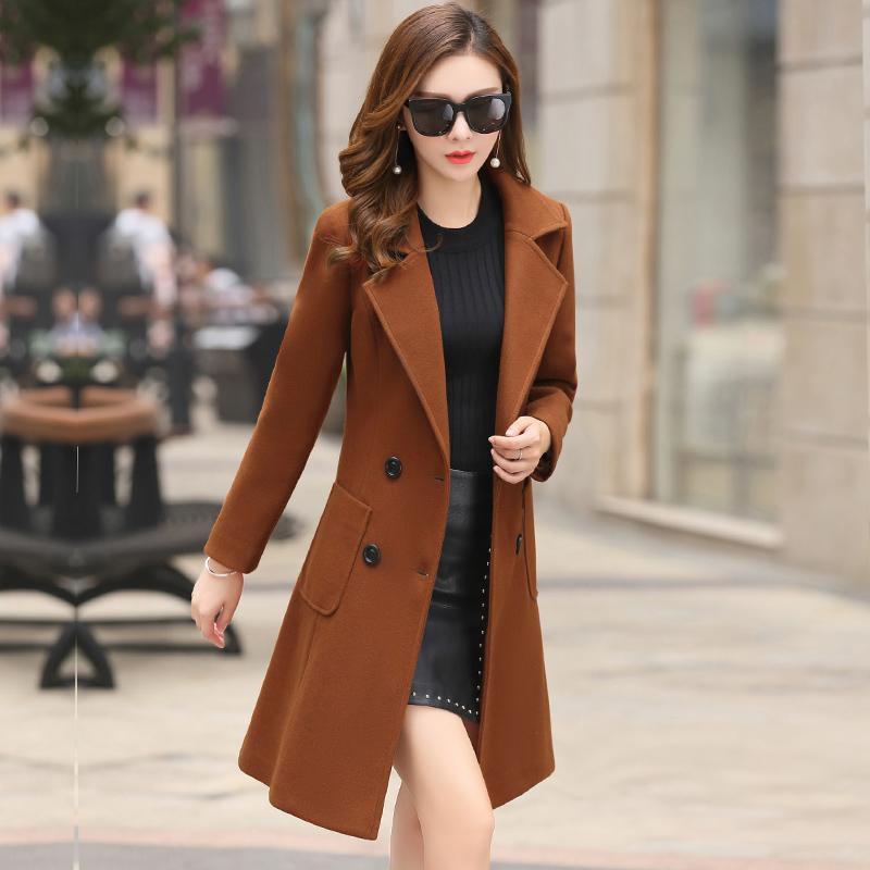 المرأة معاطف ربيع جديد 2020 أزياء الشتاء الكورية مزاج متوسط طويل الصوف سترات التويد ملابس نسائية السيدات معطف 680B