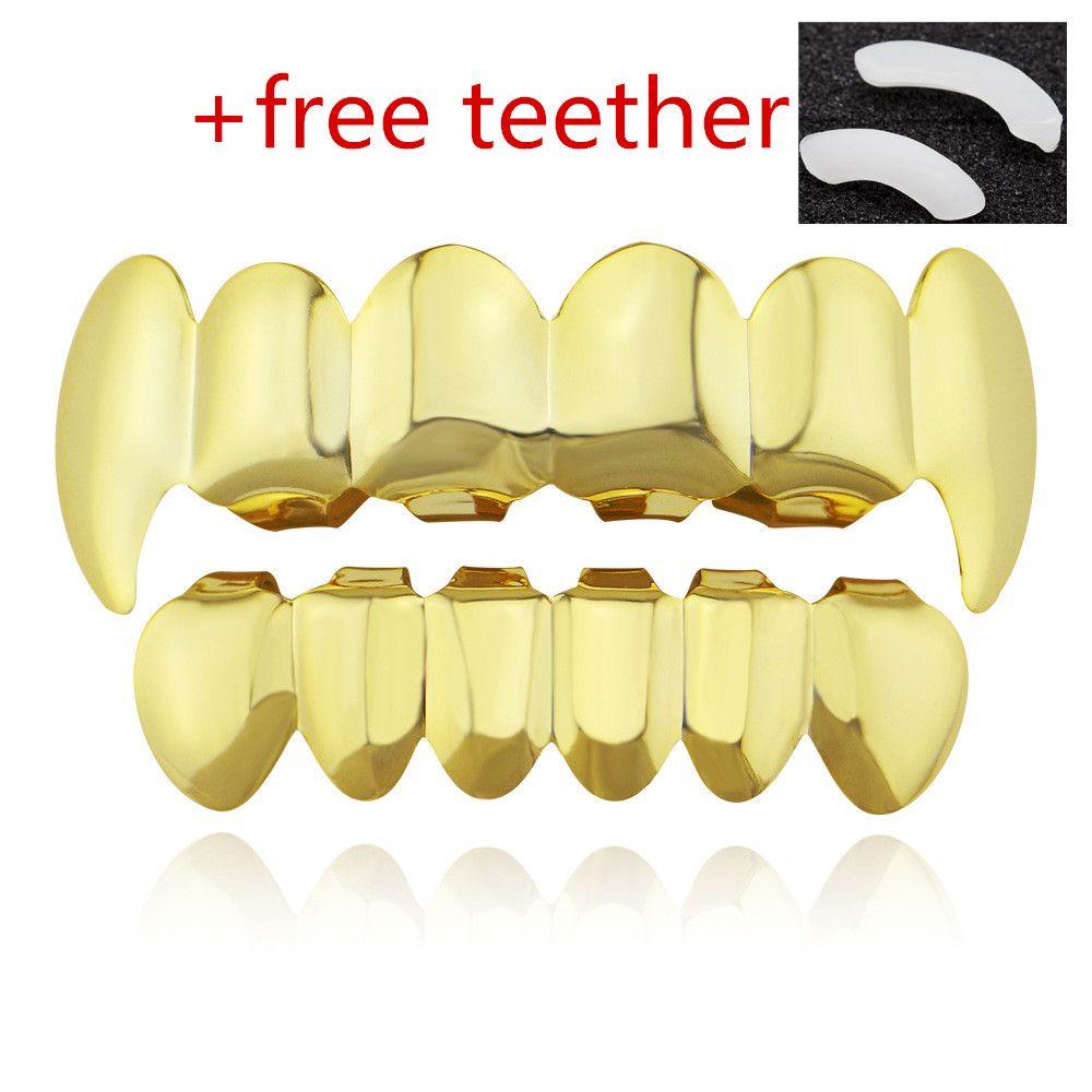 grand escompte unisexe dents hip-hop grillz métal respectueux de l'environnement plaqué or cire comestible sûre ensemble pour prendre soin de la santé dentaire