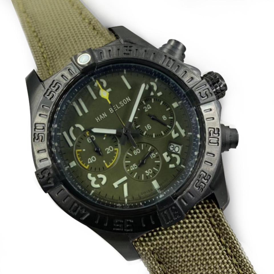 Clásico 1884 Relojes para hombre Nylon Reloj Correa Para Calidad Ejército Verde 46mm Correa Alto De Relojes Muñeco Lujo Cuero Hombre Hombres Lxorw