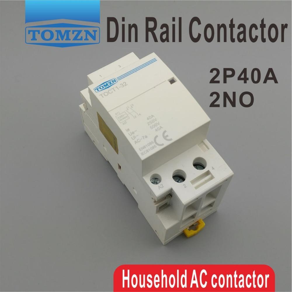 ac CT1 2P 40A 220/230V 400V~ 50/60 Гц Din-рейка бытовой модульный контактор переменного тока 2no модульный контактор