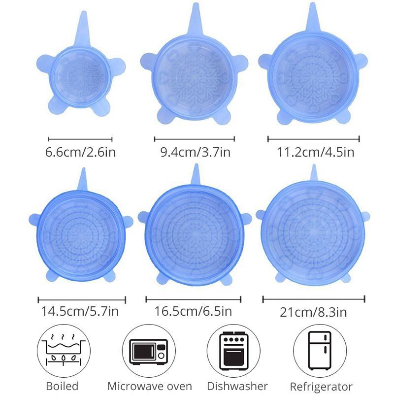 Taze Mühür Bowl Sıkı Wrap Kapak Mutfak Tencere tutulması 6adet Silikon Kapak Stretch Kapaklar Yeniden kullanılabilir Hava geçirmez Gıda Wrap Kapaklar